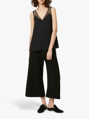 French Connection Crepe Lace Trim Vest, Black