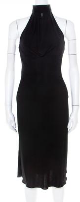 Herve Leger Black Stretch Knit Draped Neck Pleated Halter Dress M