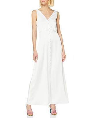 Warehouse Women's Button Through Cowl Back Satin Dress Bridesmaid