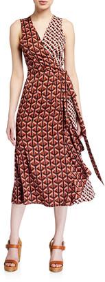 Diane von Furstenberg Moira Printed Sleeveless Wrap Dress