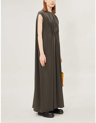 The Row Antonia loose-fit sleeveless silk-satin maxi dress