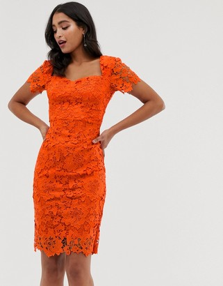 Paper Dolls all over lace short sleeve pencil dress-Orange