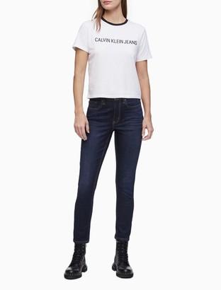 Calvin Klein Varsity Logo Ringer Cropped T-Shirt