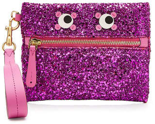 Anya Hindmarch Circulus Eyes Small Glitter Leather Pouch