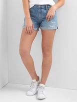 Gap Mid rise denim distressed raw hem shorts