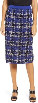 Ming Wang Plaid Knit Pencil Skirt