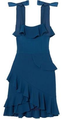 Rebecca Vallance Aegean Bow-detailed Ruffled Stretch-crepe Mini Dress