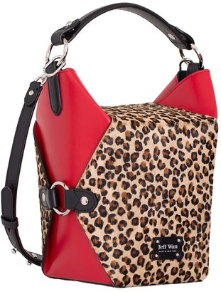 Jeff Wan Lunch Box Bucket Bag With Printed Leopard Hair Calf Leather
