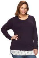 Croft & Barrow Plus Size Mock-Layer Crewneck Sweater