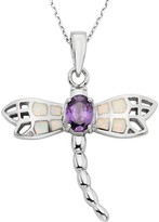 Kohl's Lab-Created Opal & Cubic Zirconia Sterling Silver Dragonfly Pendant Necklace