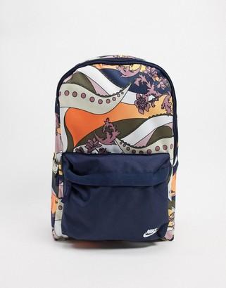 Nike floral swoosh backpack