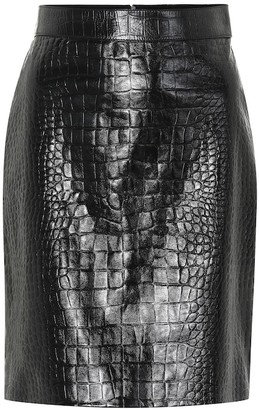 Gucci Embossed leather pencil skirt