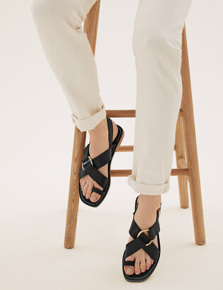 Marks and Spencer Leather Buckle Toe Loop Sandals