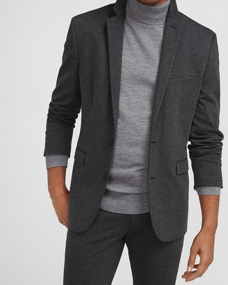 Express Extra Slim Solid Charcoal Luxe Comfort Soft Suit Jacket