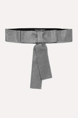 Dolce & Gabbana Bow-detailed Crystal-embellished Cotton-blend Belt - Silver