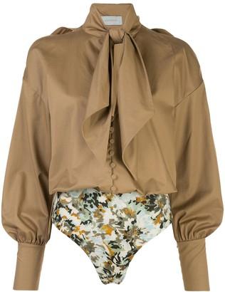 Silvia Tcherassi Gemma pussy-bow cotton blouse