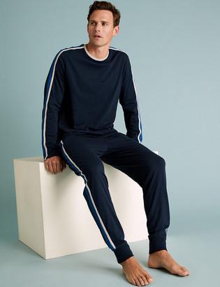 Marks and Spencer Pure Cotton Contrast Striped Pyjama Set