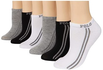 Lauren Ralph Lauren Lurex Racing Stripe Low Cut 6-Pack (White/Assorted) Women's Crew Cut Socks Shoes