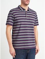 John Lewis Passenger Stripe Polo Shirt, Blue/Pink