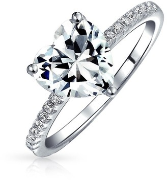 Bling Jewelry 2.5CT Heart Shape Solitaire AAA CZ Engagement Ring For Women Thin Band Cubic Zirconia 925 Sterling Silver Promise Ring