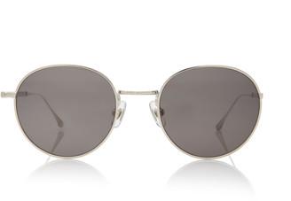 Matsuda Eyewear Brushed Silver-Tone Metal Round-Frame Sunglasses