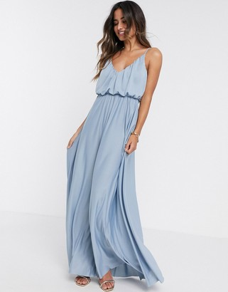 ASOS DESIGN cami plunge maxi dress with blouson top in dusky blue