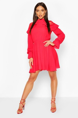 boohoo Lace Shoulder Ruffle Detail Skater Dress
