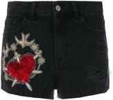 Amen embroidered denim shorts