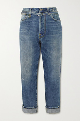 R 13 Hayden Paperbag Belted High-rise Straight-leg Jeans - Mid denim