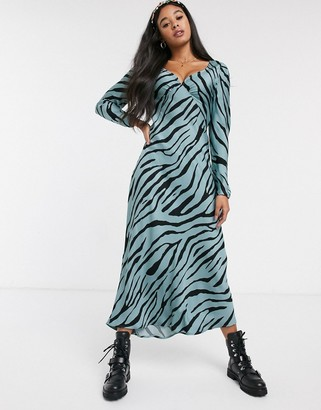 Fabienne Chapot doris lou zebra maxi slip dress in blossom blue