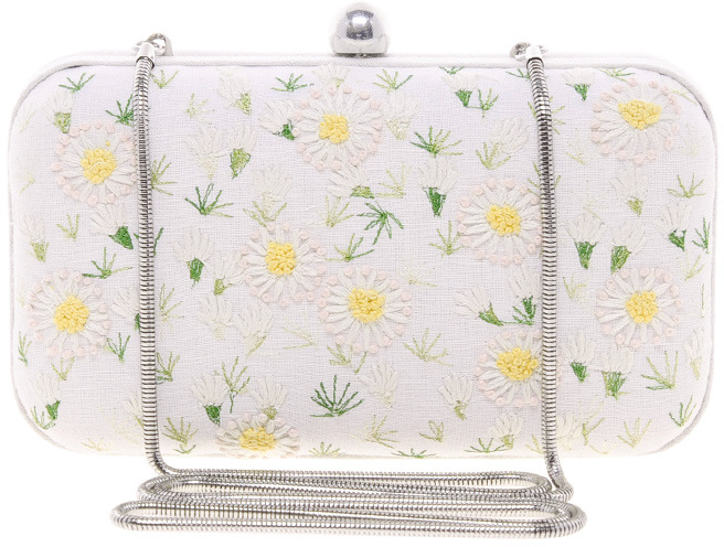 French Connection Flower Burst Box Clutch Bag