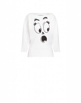 Moschino Pumpkin Face Jersey Sweatshirt Woman White Size 38 It - (4 Us)