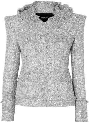 Balmain Hooded Embellished Boucle-tweed Jacket - Silver