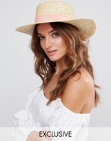 South Beach Straw Boater Hat With Peach Band