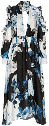 Off-White Floral Flared Silk Midi Dress