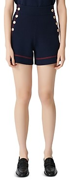 Maje High-Waist Side-Button Cotton Shorts