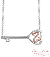 Zales Open Hearts by Jane SeymourTM Diamond Accent Sideways Key Necklace in Sterling Silver and 10K Rose Gold