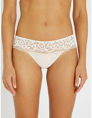 Wacoal Floral lace-embroidered mesh tanga briefs