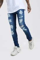 boohoo Mens Blue Skinny Jean With All Over Rips, Blue