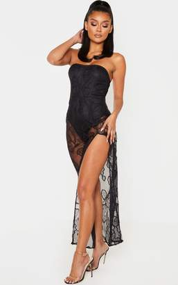 PrettyLittleThing Black Sheer Lace Corset Bodice Maxi Dress