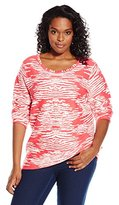 Calvin Klein Women's Plus-Size Printed Long-Sleeve Top