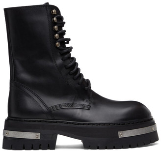 Ann Demeulemeester Black and Silver Oversized Sole Tucson Lace-Up Boots