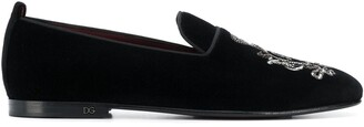 Dolce & Gabbana Crest Bead Embroidered Loafers