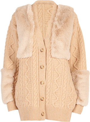 Stella McCartney Vegan Fur-Trimmed Cable-Knit Wool Cardigan