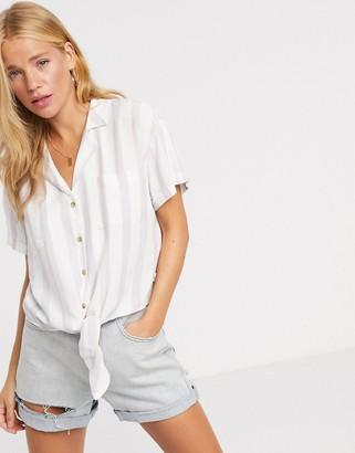 Hollister tie front stripe shirt in white