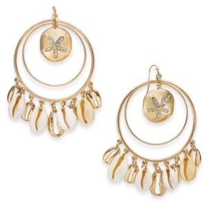 Thalia Sodi Gold-Tone Shaky Shell Charm Orbital Hoop Earrings, Created for Macy's