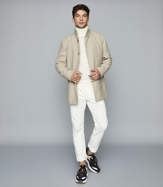 Reiss Angelo - Wool Blend Mid Length Coat in Oatmeal