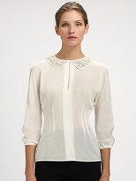 Dolce & Gabbana Trompe L'Oeil Lace Collar Blouse