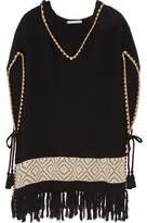 Alice + Olivia Alice+olivia Brixton Fringed Waffle-Knit Cotton-Blend Hooded Poncho