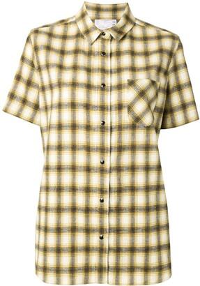 Sacai chiffon-panelled flannel shirt